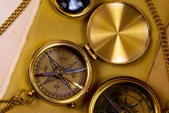 Old style brass compasses Stock Photography