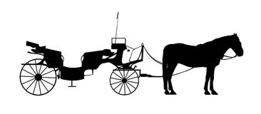Old style carriage with one horse silhouette Stock Photo