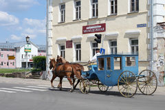 The old style carriage on street Stock Photography