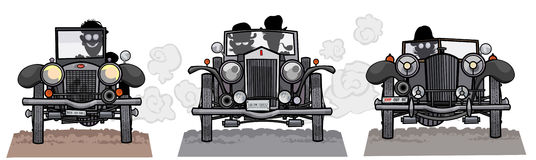Old style cars frontal view. Royalty Free Stock Photos