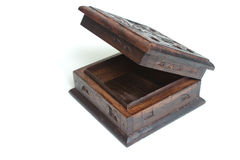 Old style carved wooden box. With metal parts isolated on white background Royalty Free Stock Photography