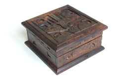 Old style carved wooden box. Souvenir from Bali Stock Image