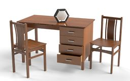 Old style chair and desk table. stock illustration