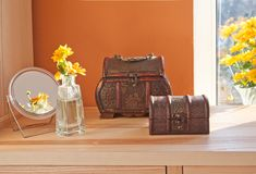 Old style chests and mirror Stock Photo
