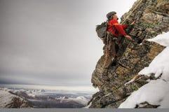 Old style climber. Winter season, horizontal orientation stock photos