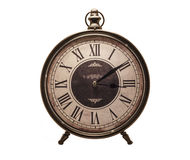 Old style clock white background Stock Photography