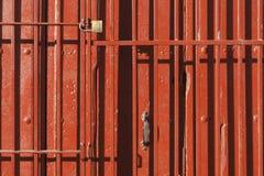 Old style of close red steel door Fotografía de archivo