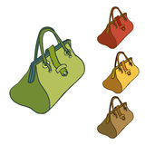 Old style colored fashion handbag simple vector sketch Stock Photography