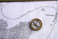 Old Style Compass. On a hand drawn map during the civil war Royalty Free Stock Images