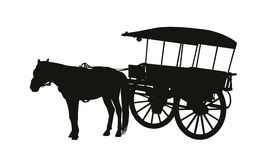 Old style country carriage with one horse in harness silhouette. Black silhouette of an old style wooden country carriage with one horse in harness standing Royalty Free Stock Photography