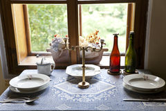Old style dining table Royalty Free Stock Photos