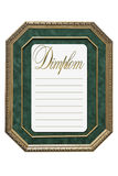 Old-style diplom. A with wooden frame and green background Vector Illustration