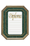 Old-style diploma. With wooden frame and green background Royalty Free Stock Image