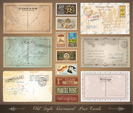 Old style distressed vintage postcards Stock Photography