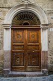 Old style door with cutwork Stock Photo