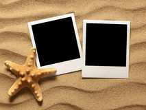 Old style empty photo card on sea sand sunny background Royalty Free Stock Photos