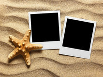 Old style empty photo card on sea sand sunny background Royalty Free Stock Image