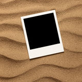 Old style empty photo card on sea sand sunny background Royalty Free Stock Photo