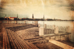 Old style evening Riga cityscape Royalty Free Stock Photo