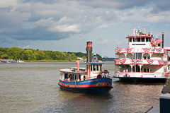 Old style ferries in Savannah, Georgia Royalty Free Stock Photos