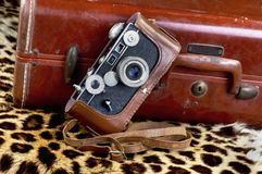 Old Style Film Camera next to old suitcase ready for safari. royalty free stock image