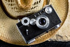 Old Style Film Camera. Old style film rangefinder camera made in the 1940`s and 50`s  sometime called the brick camera Royalty Free Stock Photos
