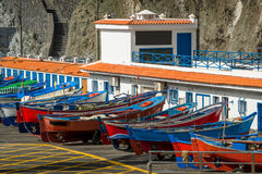 Old style fishing boats. Colorful old style fishing boats close view. Pier of San Marcos bay. Tenerife island, Spain Stock Image