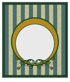 Old style frame. Frame, background with green and yellow stripes,  ornament at down side Stock Images