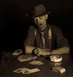 Old style gambler with cigar and glass Royalty Free Stock Image