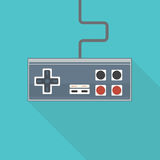 Old style gamepad. Classic flat style vector illustration of rectangular joystick like gamepad with analog buttons and stick with wire Royalty Free Stock Photography
