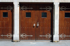 Old style gates. Old style churche doors royalty free stock photos