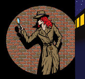 Old style girl detective, such as from the fifties stock illustration