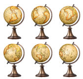 Old style globes set. Collection of old style world globes isolated on white background. Showing all continents Stock Image