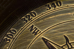 Old style gold compass Royalty Free Stock Image