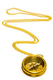 Old style gold compass with chain Royalty Free Stock Photo