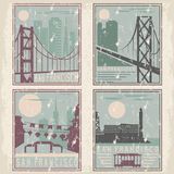 Old style grunge vintage posters. Old style grunge vintage retro posters with San Francisco landmarks Royalty Free Stock Images