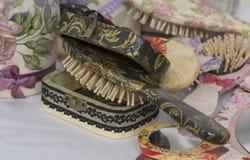 Old style hairbush. Decorative handmade hairbush Stock Photo