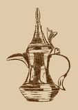 Old Style Hand Drawn Arabic Coffee Pot - Vector Illustration Royalty Free Stock Images