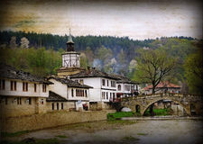 Old style historical city. Tryavna,in North Bulgaria .Photo in old image style Stock Image