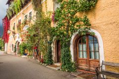 Old style house in Hallstatt in the morning Royalty Free Stock Photo