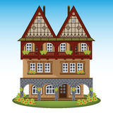 Old style house of historical city center. Vector illustration Royalty Free Stock Photo