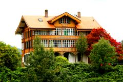 Old style house in Switzerland. A old Fashioned Home in Switzerland taken near Interlachen Stock Photo