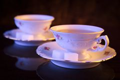 Old-style image with two cups of tea Stock Photo