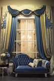 Interior with sofa and curtains. Old style interior with sofa and curtains Stock Photos