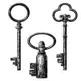 Old style key collection. Etching vector drawing Stock Photos