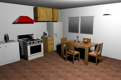 Old style kitchen-3d rendering Royalty Free Stock Images
