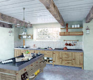 Old-style kitchen. Beautiful old-style kitchen interior. 3D concept Royalty Free Stock Photo