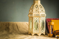 Old-style lamp and stationery Royalty Free Stock Photography