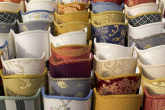 Display of lampshades. Old style lampshades pattern in a flea market Royalty Free Stock Photography