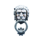 Old style lion`s head knocker isolated. royalty free stock image